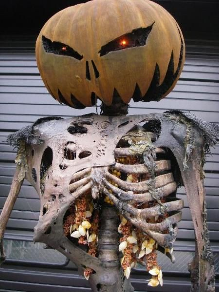 Scare Your Neighbors With Pumpkin Head Skeleton