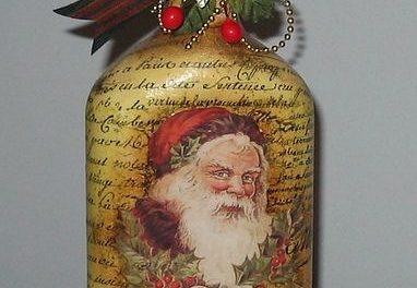 Decoupage Santa On A Bottle