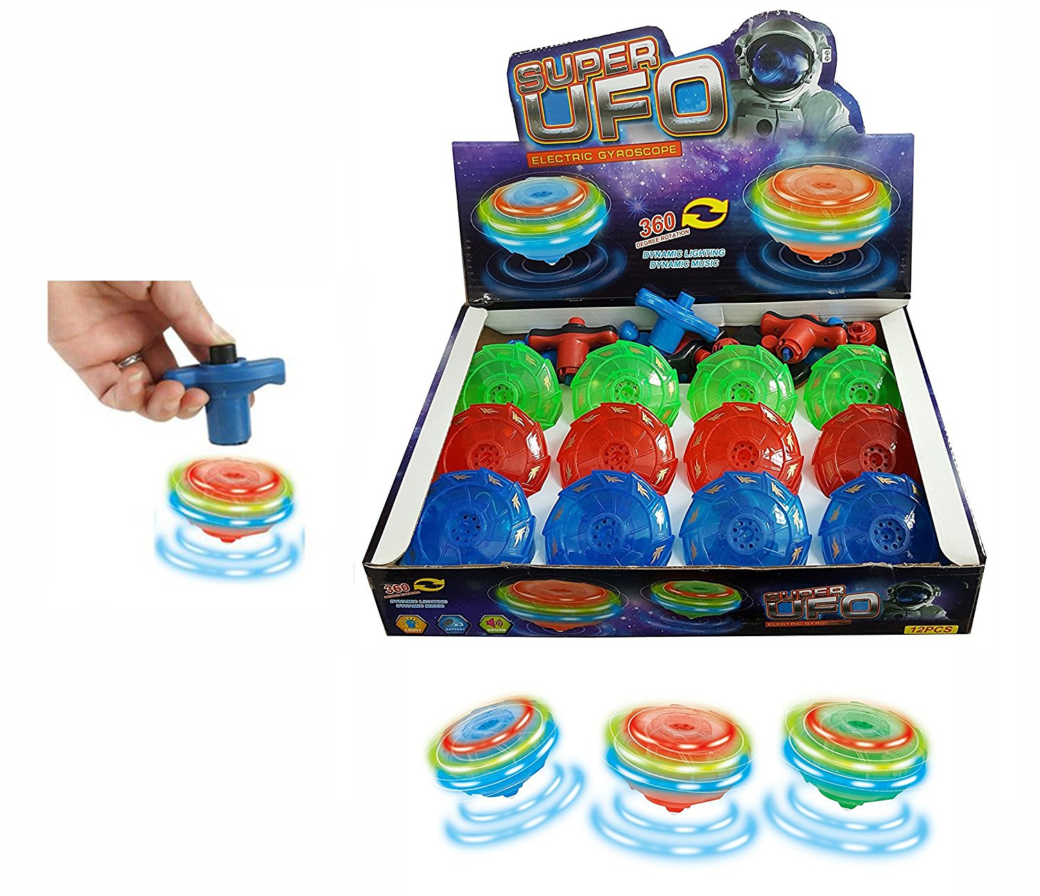 Light Up Flashing UFO Spinning Tops with Gyroscope