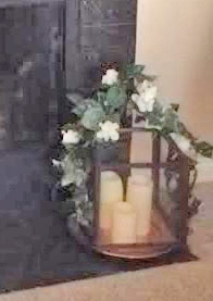 Heather's Simulated Window With Wreath and Lantern